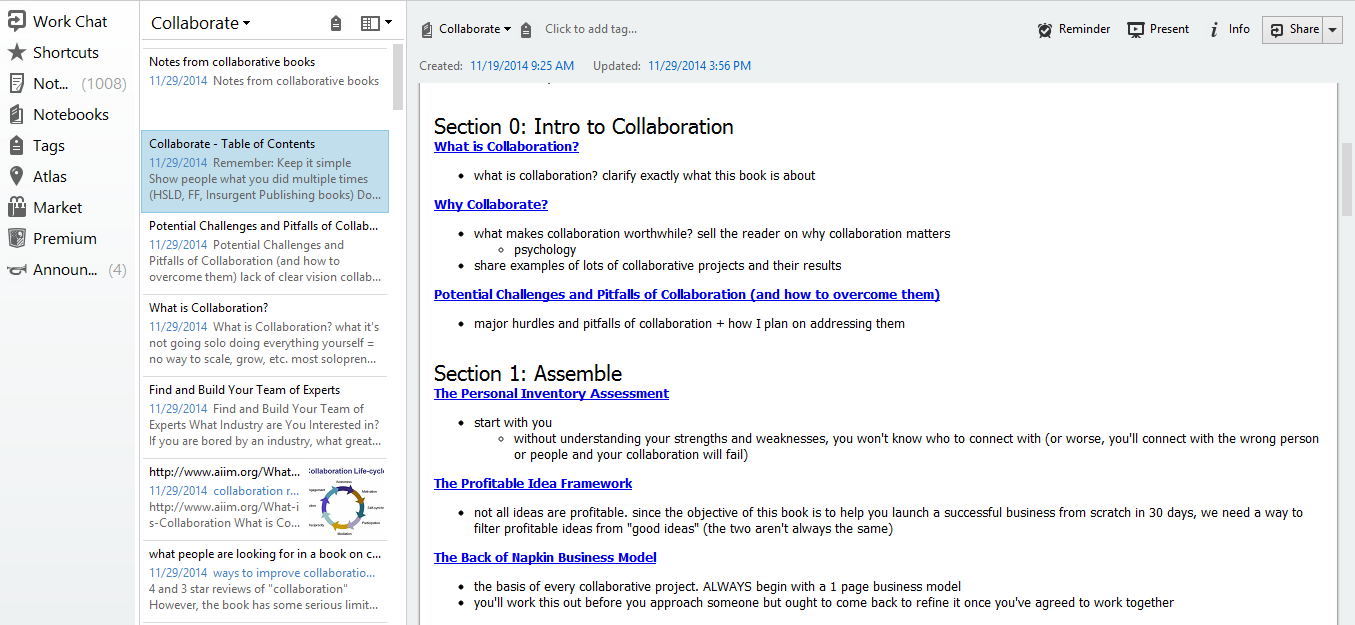 outlining collaborate in evernote