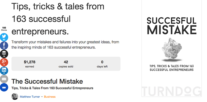 The homepage of The Successful Mistake crowdfunding campaign.