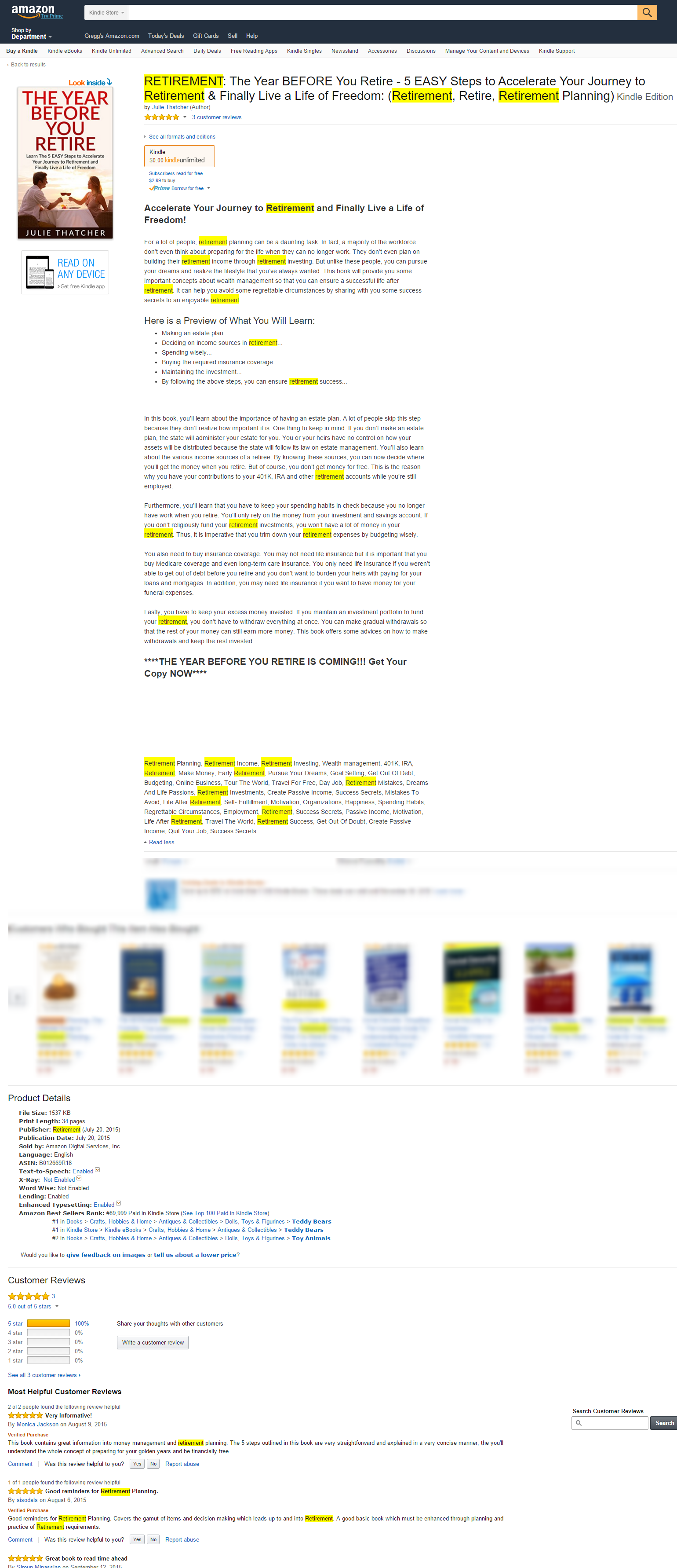 02.1 - Amazon Kindle SEO - scam example - keyword stuffing